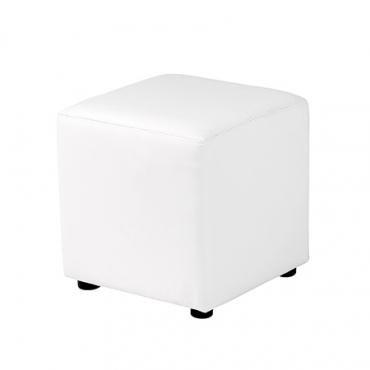 pouf carré 40 cuir blanc