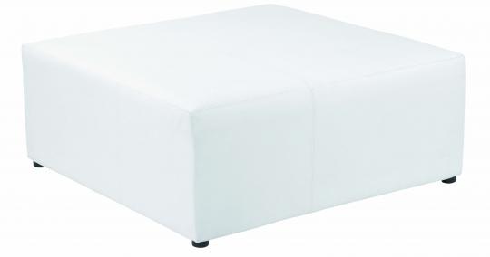 pouf carré 100 cuir blanc