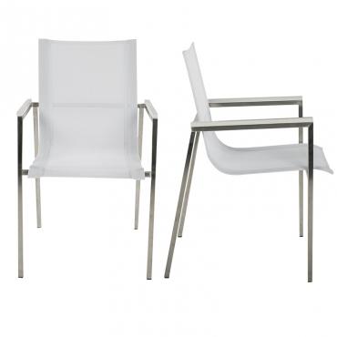chaise villa blanc accoudoirs