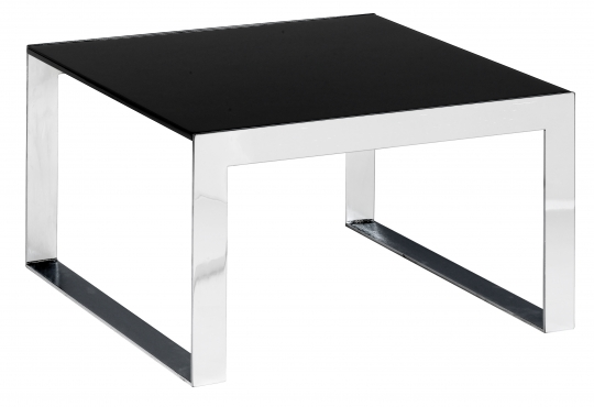 table basse Berlin 60x60 chrome/noire
