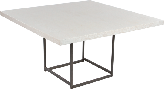 table deko croco blanc 135x135 H74