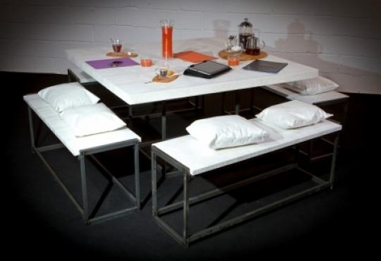 ensemble deko croco blanc table + 4 bancs