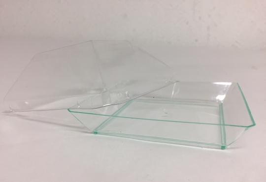 assiette quartz transparente verte 90x90 +couvercle transparent RPET
