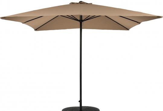 parasol bellagio 3mx3m taupe+pied en croix+4gueuzes