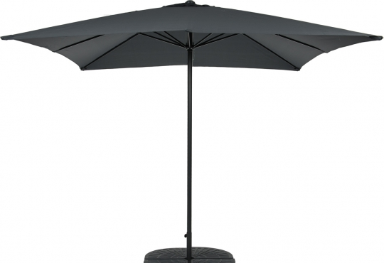 parasol bellagio 3mx3m gris anthr+pied en croix+ 4 geuzes