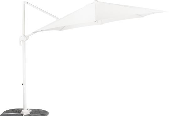 Parasol déporté SUNSET  Blanc Ø 3 m + 4 gueuzes