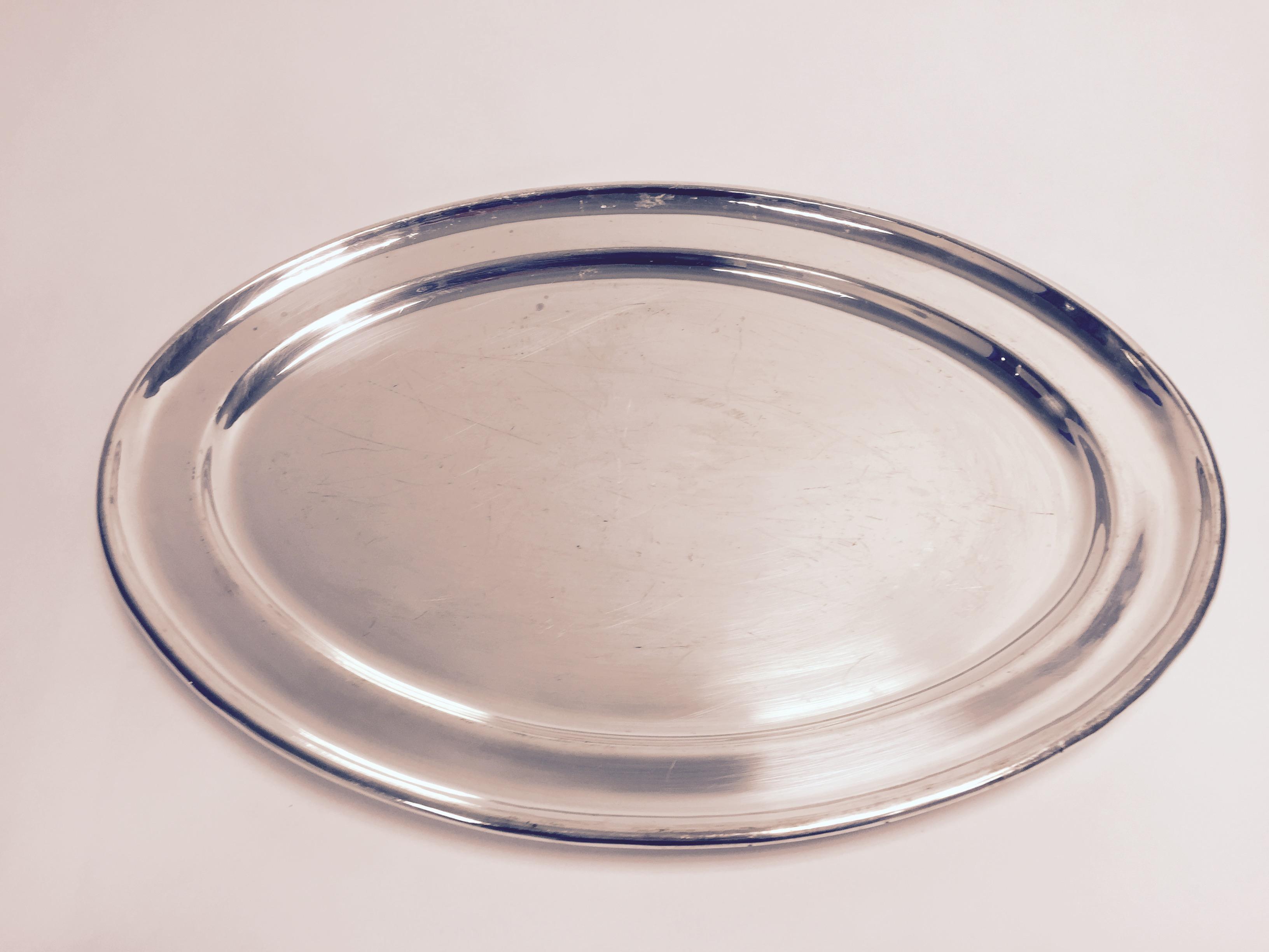 plat argent ovale 50x31