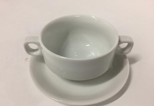 tasse consomme + sous tasse blanc 26cl -