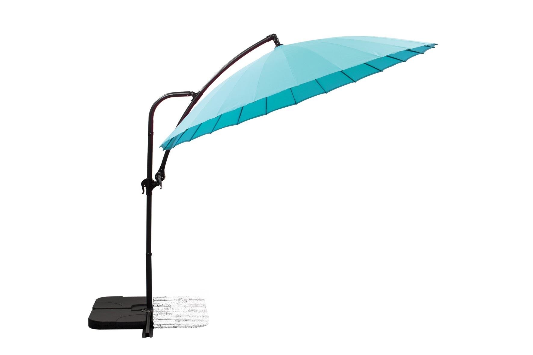 parasol déporté Ø 280 bleu azur + 4 gueuzes