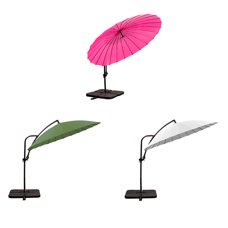 parasol deporté Ø 280 blanc + 4 gueuzes