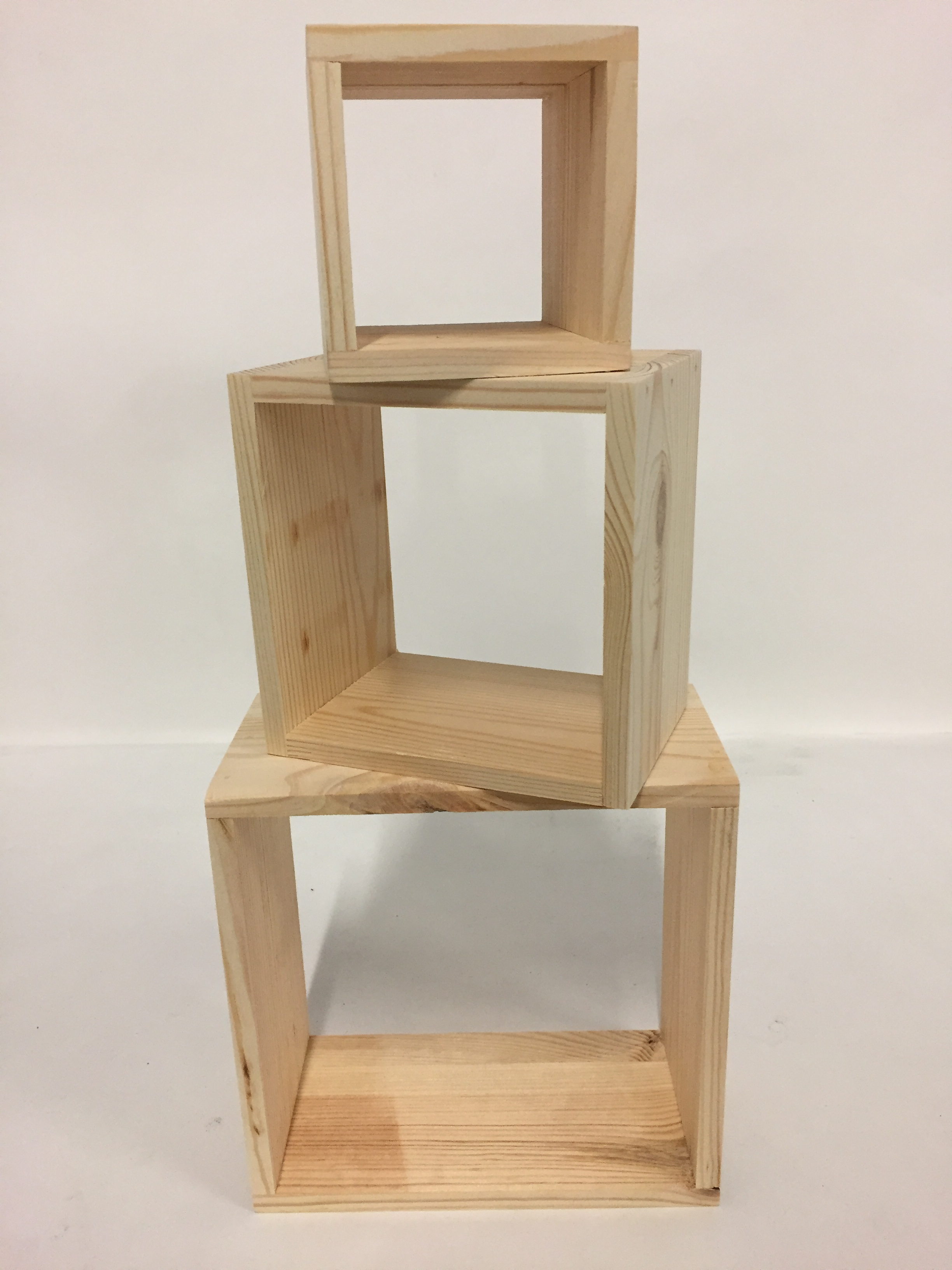 cube bois set de 3