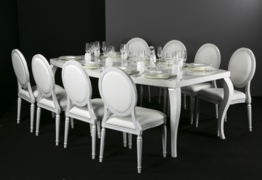 chaise opéra blanche + galette blanche & galette argent