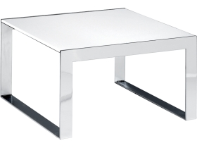 table basse Berlin 80x80 chrome/blanche