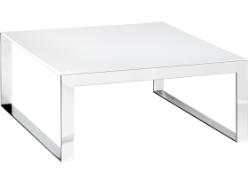 table basse Berlin 60x60 chrome/blanche