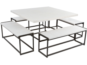 ensemble deko croco blanc table + 4 bancs